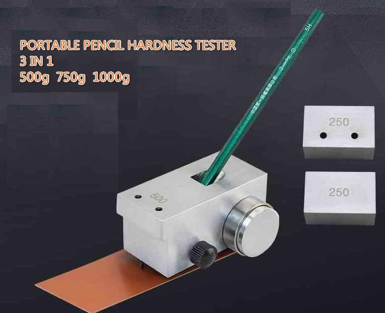 جديد 3 في 1 المحمولة قلم رصاص اختبار صلابة متر مقياس التحمل 500g 750g 1000g QHQ-A قلم رصاص اختبار صلابة