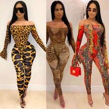 Flambant neuf femmes hors épaule léopard peau de serpent à manches longues combinaison barboteuse hauts femme Sexy gaine Clubwear 2 pièces tenues
