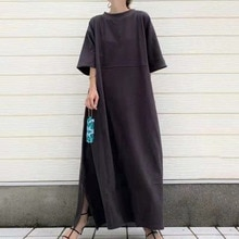 2021 Japanese Round Neck Short Sleeve Loose Simple Dress Solid Color Long Skirt Loose Temperament Wo