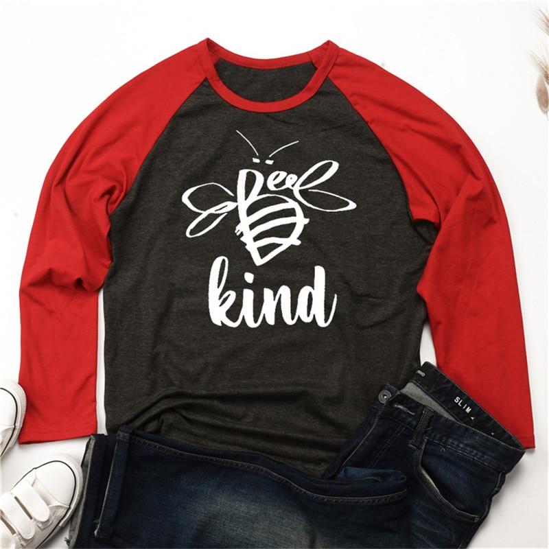 Camisa de manga larga de tipo abeja, camisetas con gráficos divertidos de manga larga de raglán, camisetas casuales de retales de bloques de Color, camisetas femeninas
