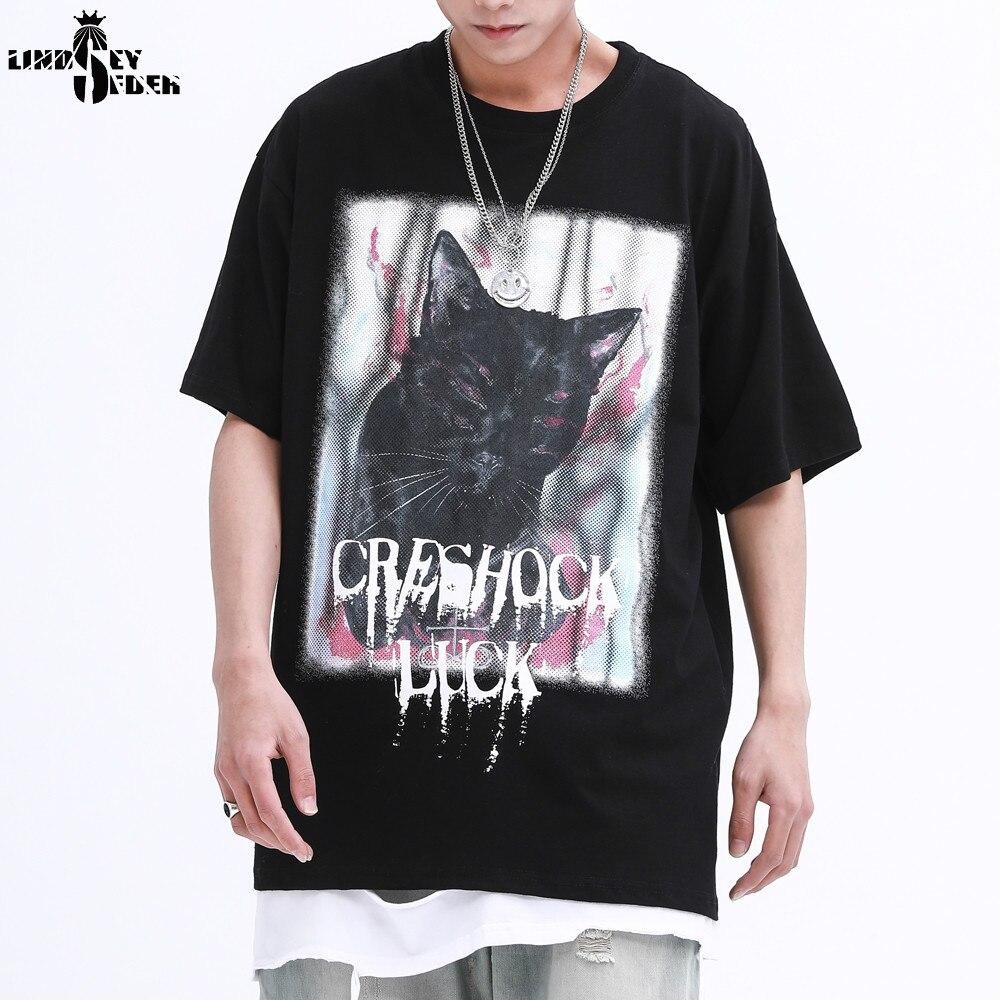 Lindsey Seader High Street Black Cat Print Butterfly T-shirt Men Women Hiphop Fashion Casual Summer O-neck Tees Mens T Shirt Top