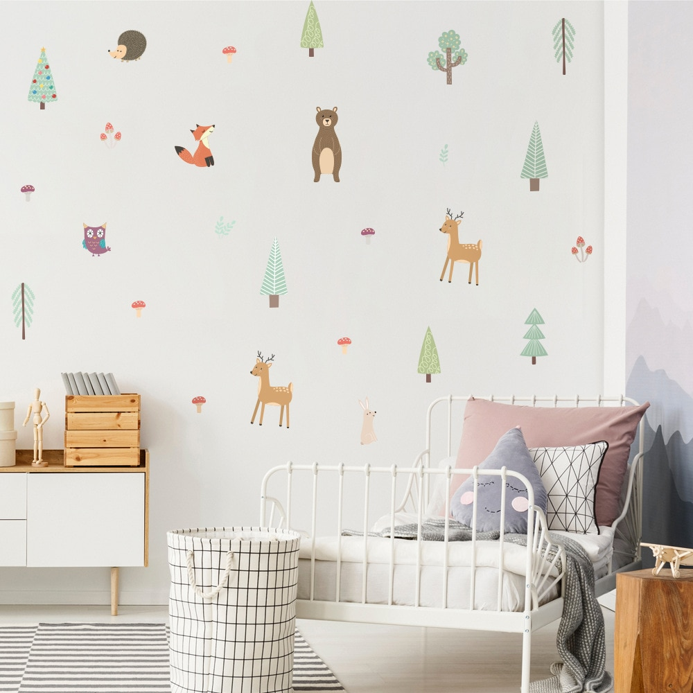 Funlife Cartoon Animals Kids Wall Sticker Baby Room Nursery Decor Cute Bunny Flash Sloths Forest Fairy Tales Sticker Boy Gift hot sale forest animals happy daily life squirrel fox deer good friends party fairy cartoon tales pillow case