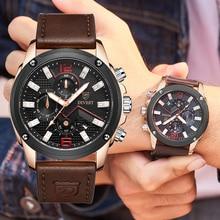 DIVEST Casual Fashion Mens Watches Top Brand Luxury Clock Leather Sport Waterproof Watch Quartz Chro