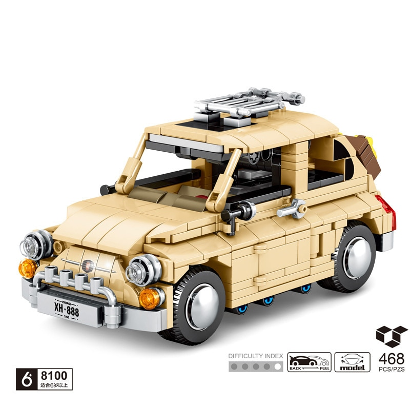 technical germany brand classic Vintage car Beatle building block das auto model bricks pull back vehicle toys collection
