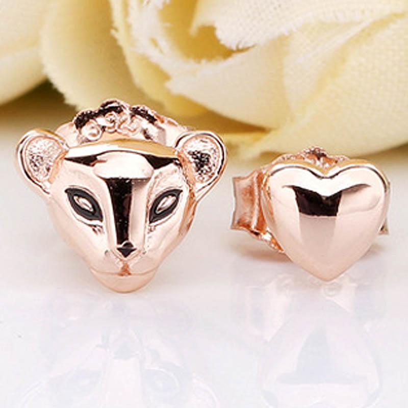 Pendientes originales de León rosa y corazón con esmalte negro para mujer pendientes de plata de ley 925 regalo de boda joyería DIY