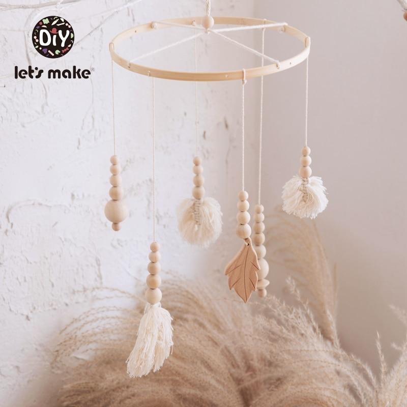 AliExpress - Let's Make Baby Toys Mobile On The Bed Tassel Leaves Knitting Developmental Educational Dreamcatcher Soft Rattles For Newborns