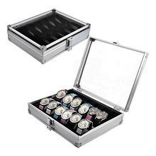 Hot Watch storage box Aluminum Alloy Case Useful 6/12 Grid SlotsJewelry Watches Aluminium Alloy Display Storage Box Case Watch