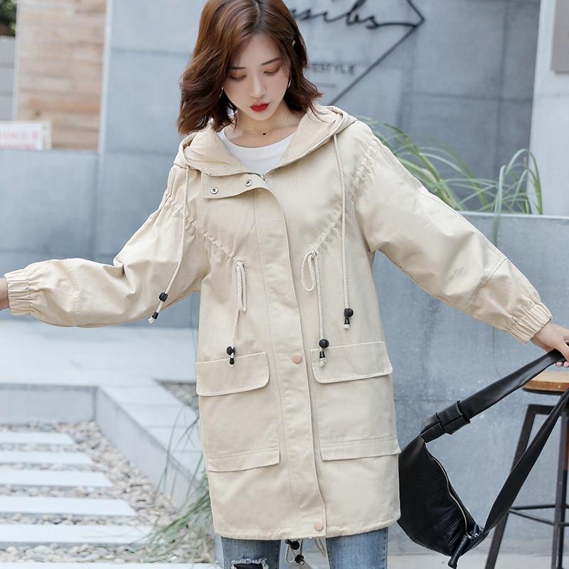 Women Hooded Harajuku Coat Fashion Autumn Long-sleeved Casual Trench Multi-color Streetwear Loose Hip Hop Top Windbreaker