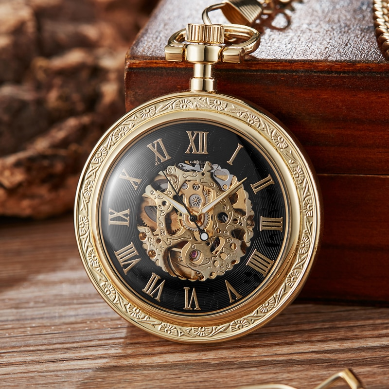 Golden Sliver Smooth Automatic Mechanical Pocket Watch Steampunk Skeleton Fob Chain Hand Winding Hollow for Men Women