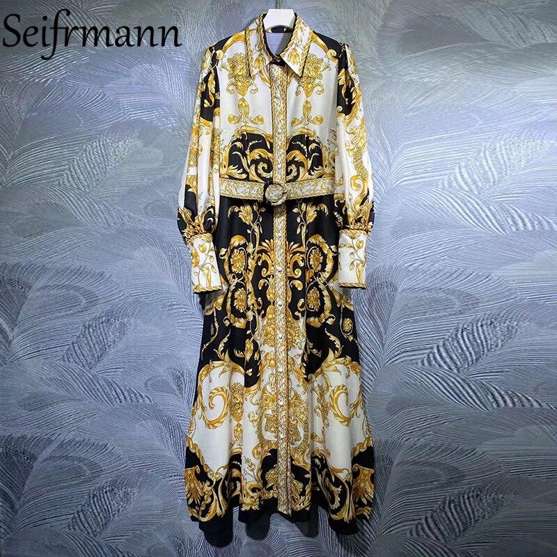 Seifrmann جديد 2021 الخريف النساء موضة المدرج فستان طويل فانوس كم وشاحات خمر مطبوعة السيدات فساتين فضفاضة Vestidos