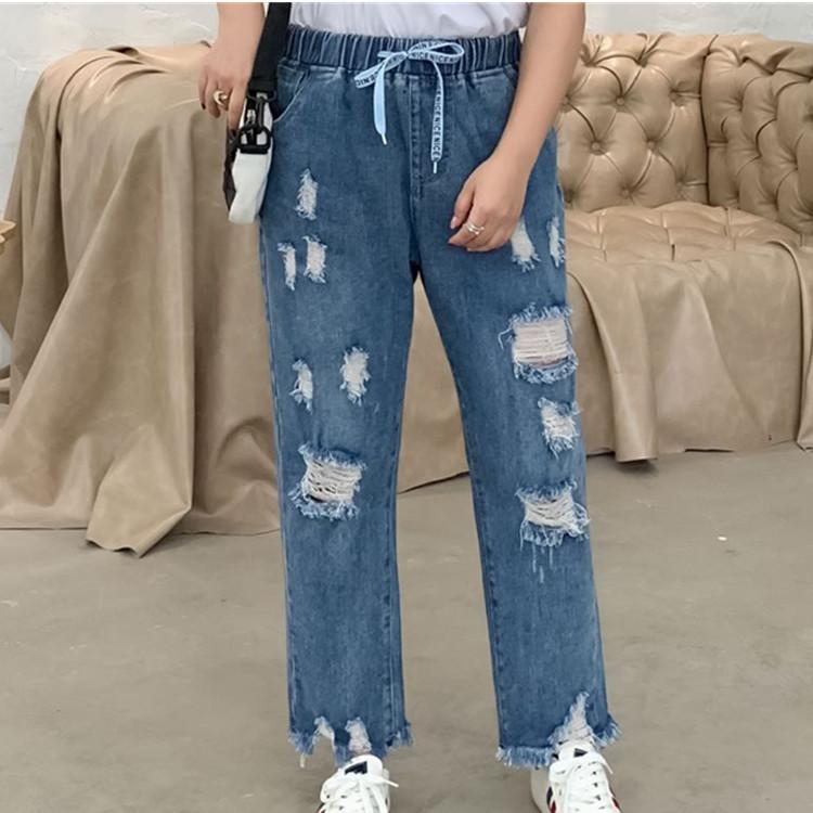 4XL-8XL gran tamaño mujeres Harem Jeans otoño Casual 5XL 6XL 7XL talla grande Jeans cintura elástica Denim Pantalón femenino loose Vaqueros