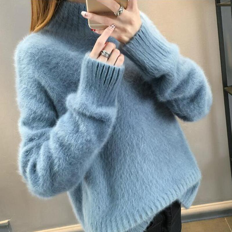 No hair off waterproof mink sweater women's bottom sweater 2019 new winter thickened loose half high collar Pullover looks thin enlarge