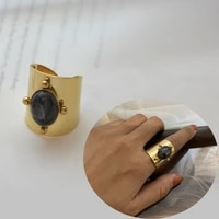perisbox vintage multicolor oval stone open finger rings geometric gold color stainless steel wide ring unisex jewellery