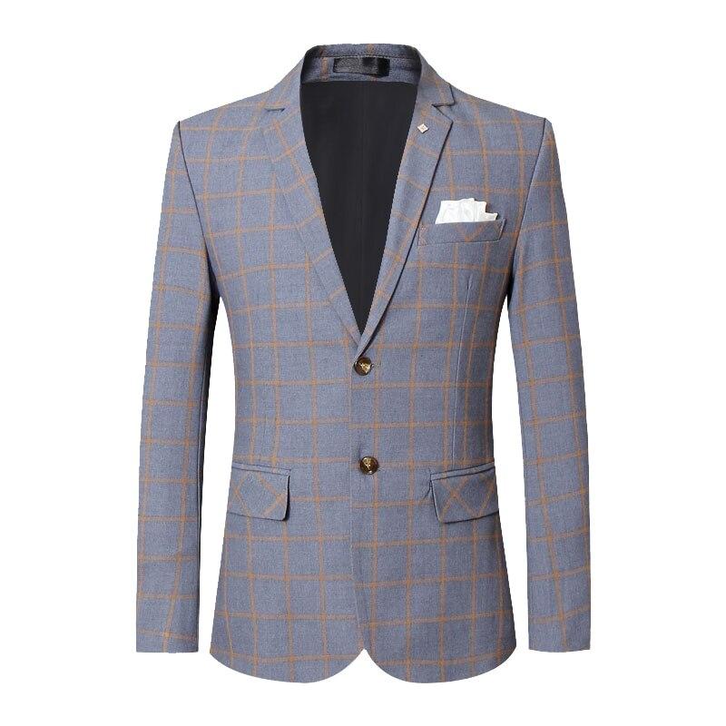 Мужской Блейзер в британском стиле, весна 2020, новинка, клетчатый Мужской Блейзер, приталенный повседневный деловой пиджак, деловой пиджак, м...
