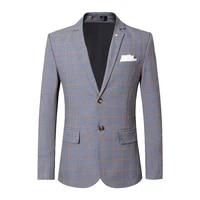 british style men blazer 2020 spring new plaid mens blazer jacket slim fit casual business formal wear blazers men suits s 5xl