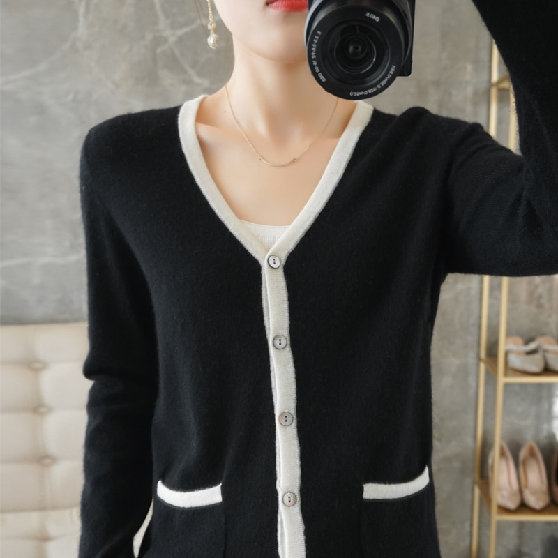 Women Knitwears 100% Austalian Wool Knitting Jackets Hot Sale Vneck Long Sleeve Cardigans 2Colors Female Clothes Free Shipping enlarge