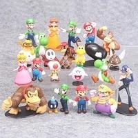 22pcsset super mario bros pvc action figures toys luigi yoshi peach princess shy guy mushroom donkey kong model cartoon dolls