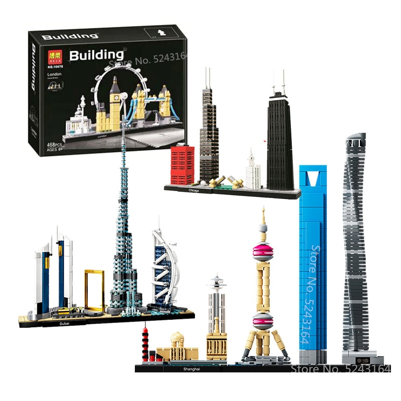 NEW 17009  Architecture Shanghai Sydney Chicago London Solomon Compatible 21039 21035 21034 21033 21032 Toy For Children