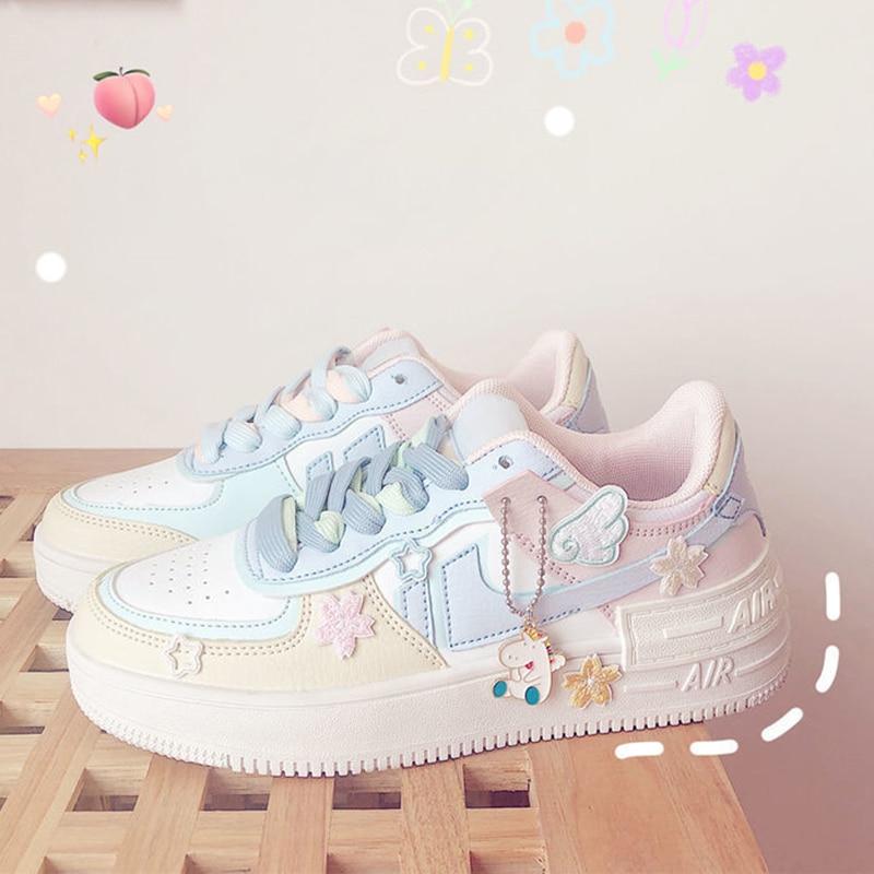 Kawaii حلوى لون أحذية رياضية من قماش القنب النمط الياباني المرقعة المرأة الأحذية لطيف الفتيات لوليتا الأحذية ملصقات Zapatillas Mujer
