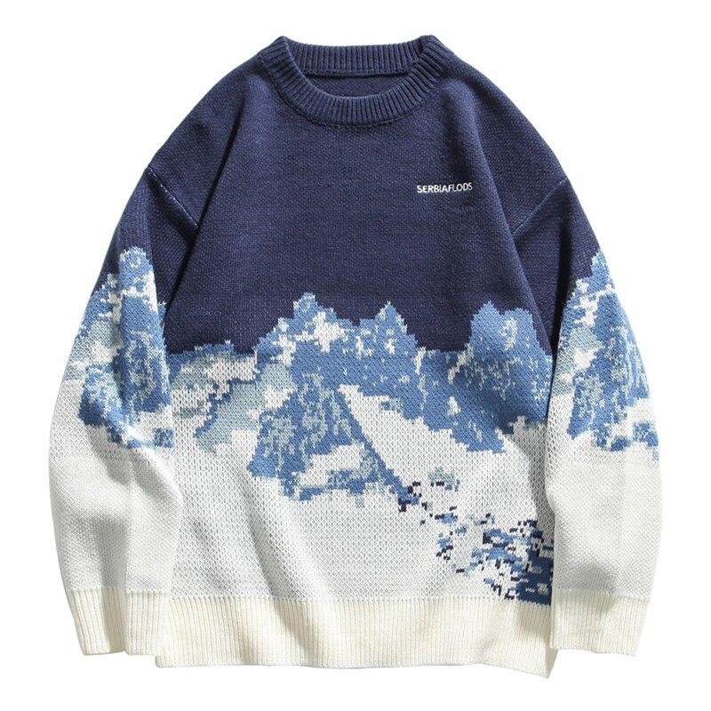 الخريف الشتاء الثلوج الجبل إلكتروني طباعة محبوك سترة الرجال طويلة الأكمام س الرقبة المتضخم الأزرق الأسود البلوز الذكور البلوزات