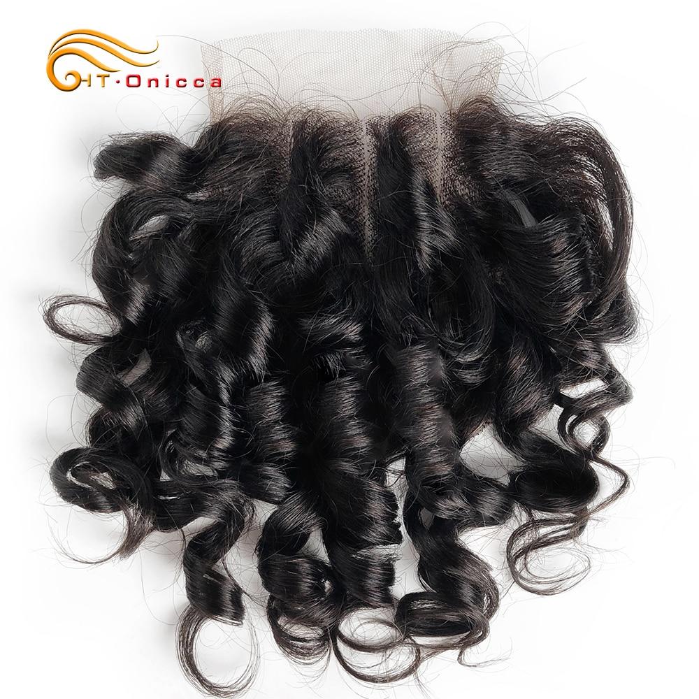 البرازيلي مجعد إغلاق 4x4 ثلاثة جزء قبل قطعها 100% شعر الإنسان إغلاق اللون 1B/27/4/30/33/99J شعر ريمي