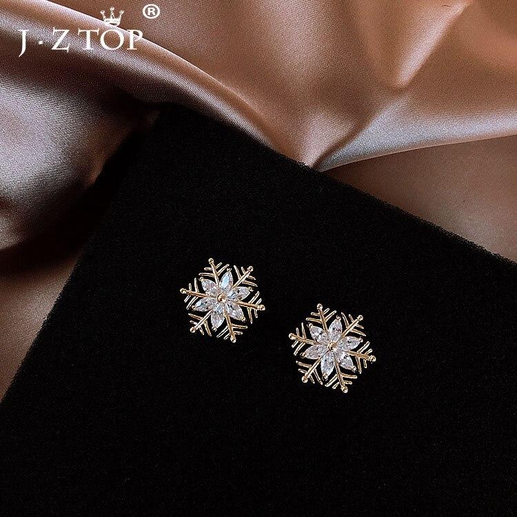 Jztop mujer Simple Navidad copo de nieve pendientes de tachuela moda geométrica Metal diamantes de imitación flor pendientes femeninos Brincos