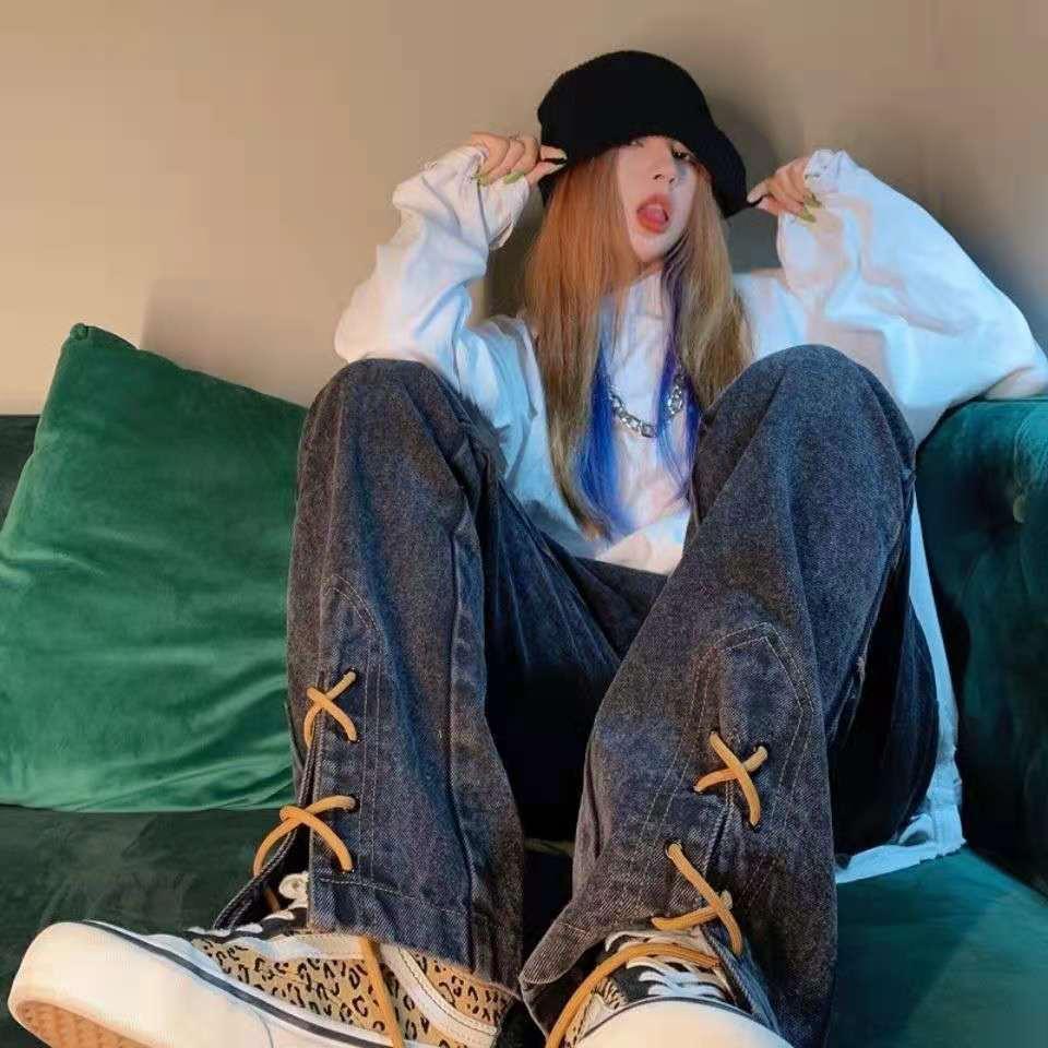 Винтажные брюки CCZXLY с высокой талией, винтажные джинсы, с разрезом, прямые широкие джинсы, женские джинсы