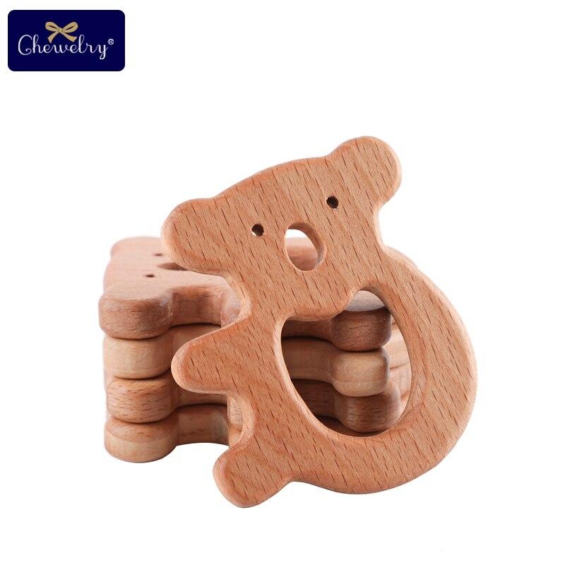 7 piezas mordedor de madera para bebés haya Animal Koala gato roedor dentición para bebés juguete para niños