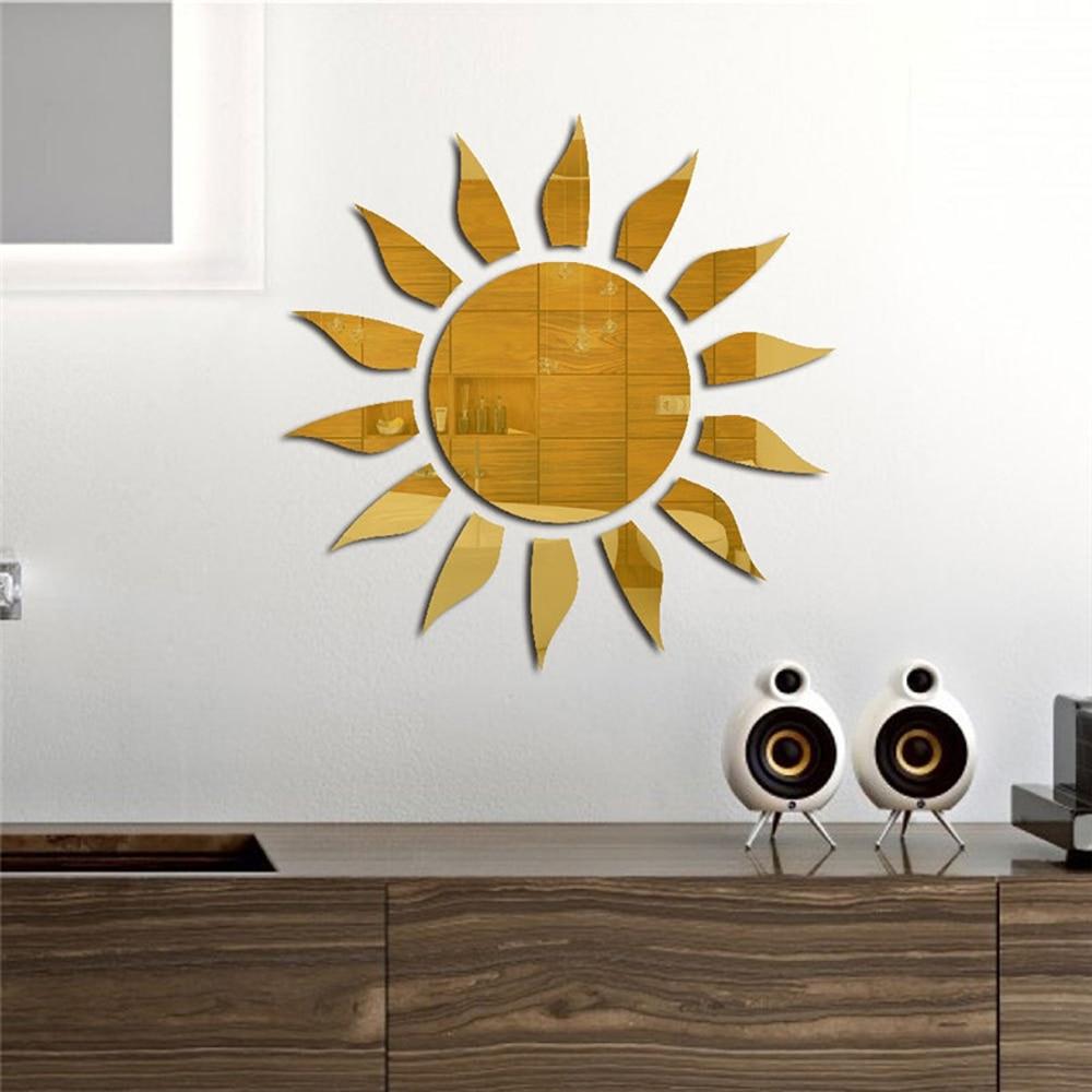 Adhesivo de pared de flores 3D para el sol, Adhesivo de pared de espejo acrílico removible artístico, Adhesivo de pared para dormitorio, sala de estar, TV, fondo Adhesivo de pared decorativo