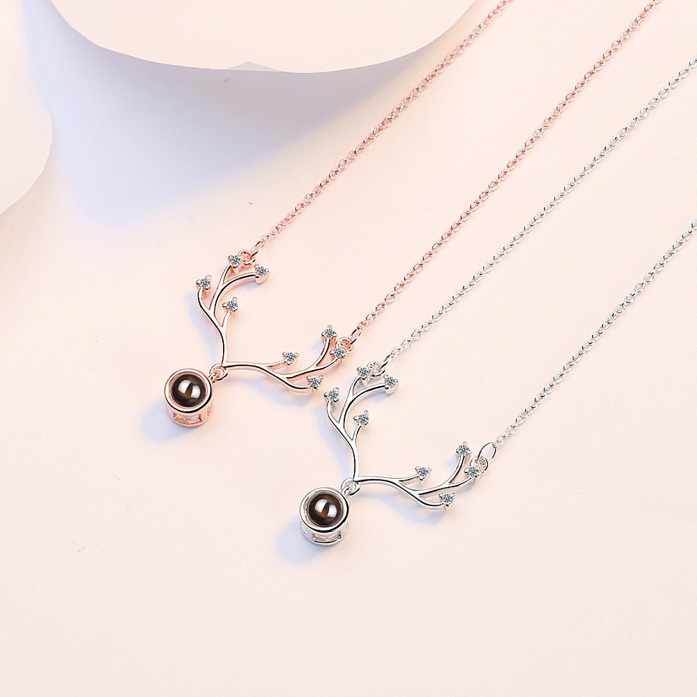 Women's Antlers Crystal Pendants And Necklaces 925 Sterling Silver Wedding Anniversary Jewelry Free