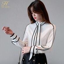 H Han Queen Black White Contrast Color Bow Tie Shirts Women 2019 Autumn OL Business Work Wear Blouses Elegant Office Shirt Femme