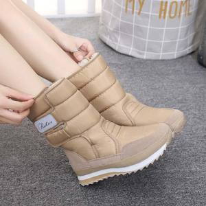 Women boots winter warm plush mid-calf boots women shoes 2020 waterproof winter shoes woman snow boots women solid ladies shoes
