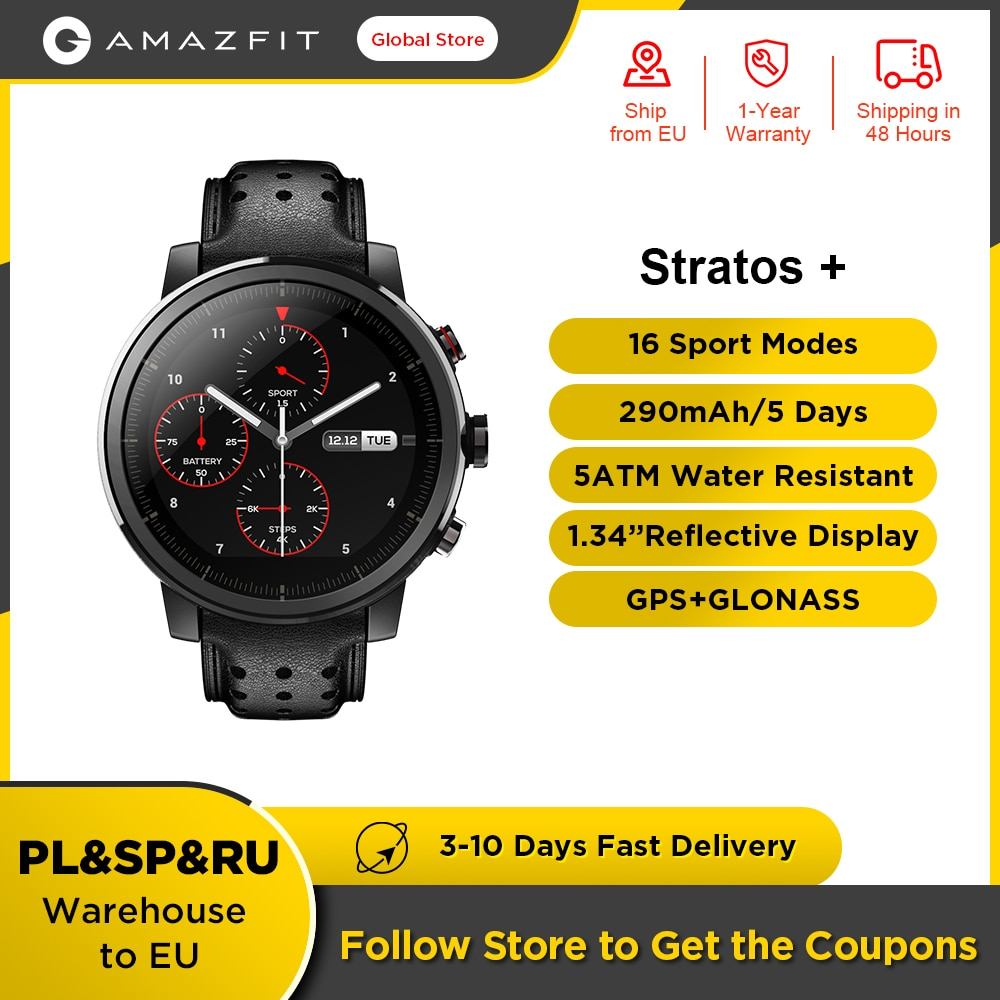 Review 100% Original Amazfit Stratos + Flagship Smart Watch Genuine Leather Strap Sapphire Glass Flourorubber Strap for Android Phone