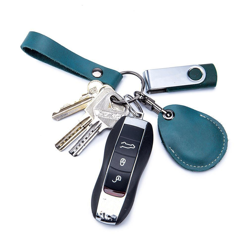 Genuine Leather Access Card Cover Keychain Pocket For Car Keys Wallet Clip Ring Women Men Diy Access