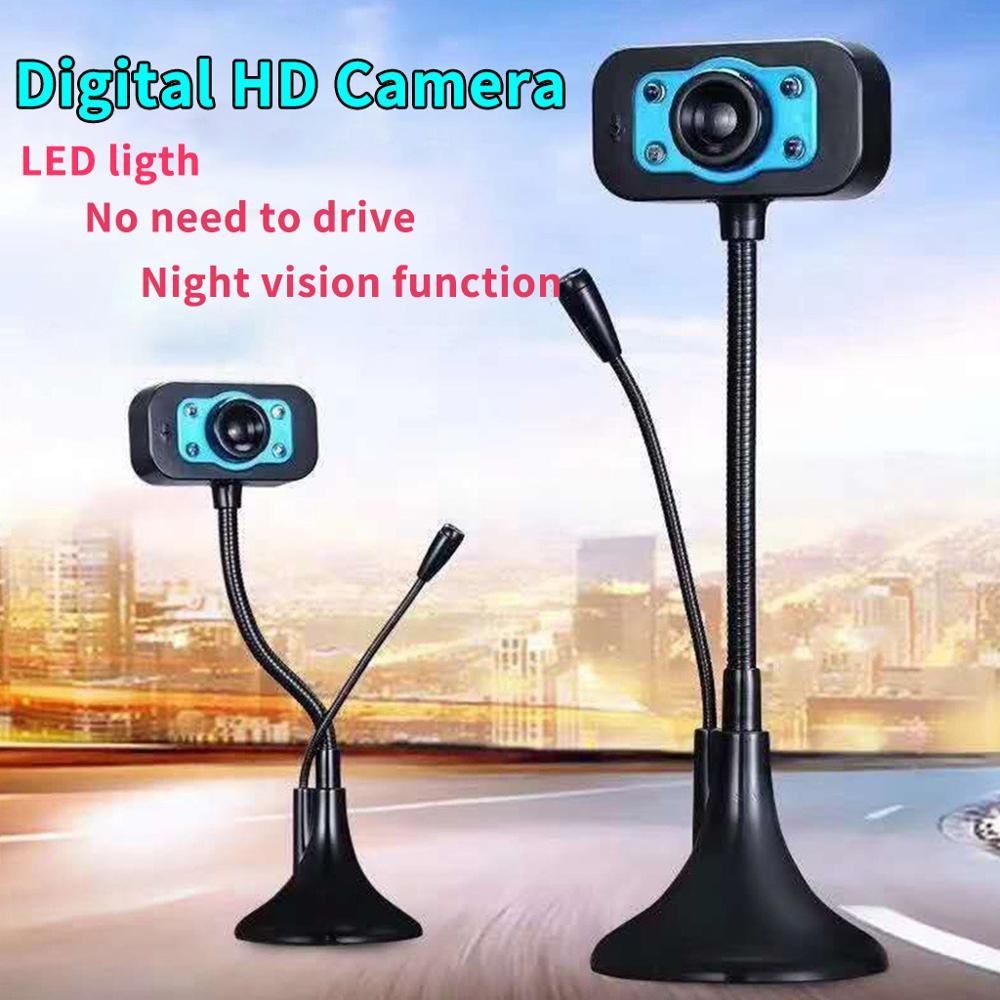 Webcam LED HD para ordenador de escritorio, cámara vídeo de PC Usb con micrófono, cámara Web de visión nocturna