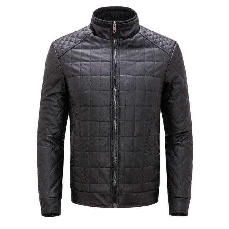 عالية الجودة بولي leather سترة جلدية الرجال ملابس كاجوال الخريف الشتاء الوقوف طوق سستة الرجال سترات من الجلد والمعاطف أزرق أسود