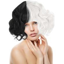 2021 New Cruella De Vil Kuila Wig Half Black Half White Short Curly Cosplay Wigs Prop Make Up Wigs F