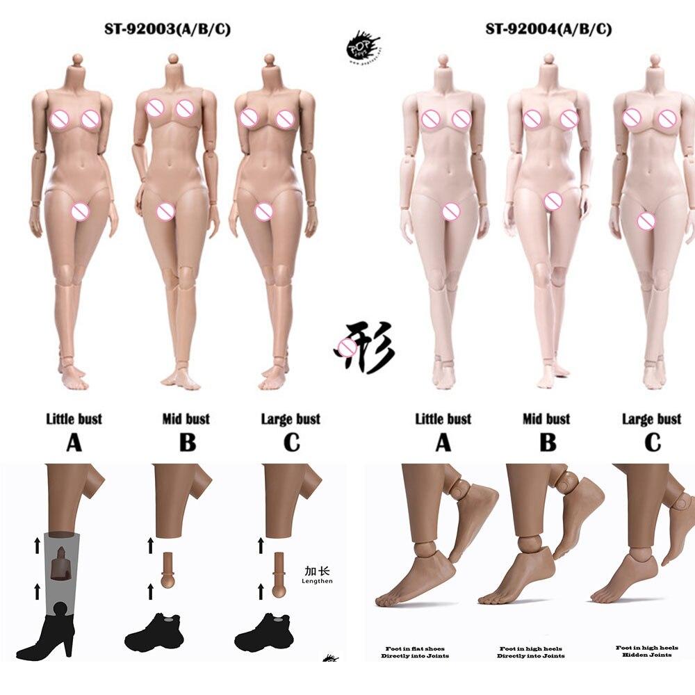 POPTOYS 92003/92004 شينغ 1/6 مقياس 255 مللي متر نسخة معدلة جسم أنثى 12 ''مرنة Suntan/شاحب نموذج الجلد لرأس 1:6
