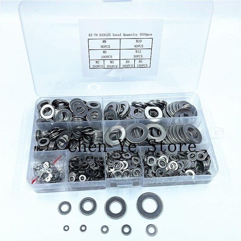 1010 قطعة مجموعة غسالة مسطحة الفولاذ المقاوم للصدأ M2 M3 M4 M5 M6 M8 M10 M12 حلقة جوانات عدة عادي غسالات صامولة معدنية تشكيلة