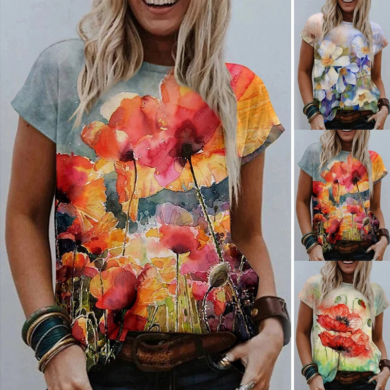 Women Loose Vintage Tops O-Neck Casual Short Sleeve T-shirt Floral Printed Blouse Plus Size