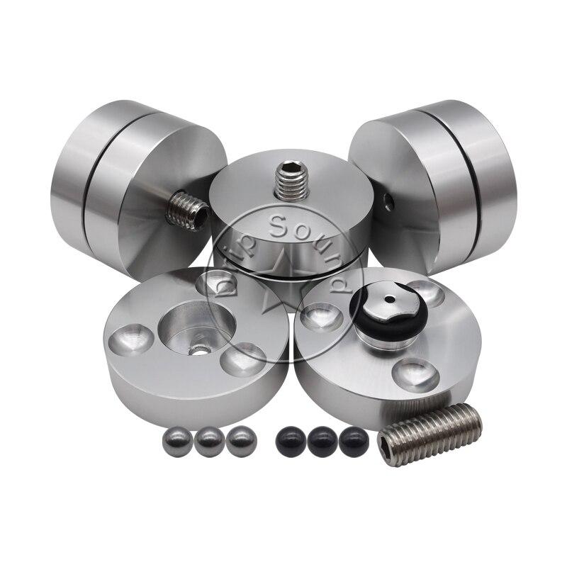 4pcs 39mm Aluminium Stainless Steel Speaker Shockproof Spike Pads Amplifier Steel Ball Ceramics Ball Isolation Stand Feet Holder enlarge