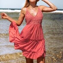 Dames été Sexy col en v couleur unie sans manches robe à bretelles femmes Shopping voyage plage vacances Cupcake jupe robe à bretelles