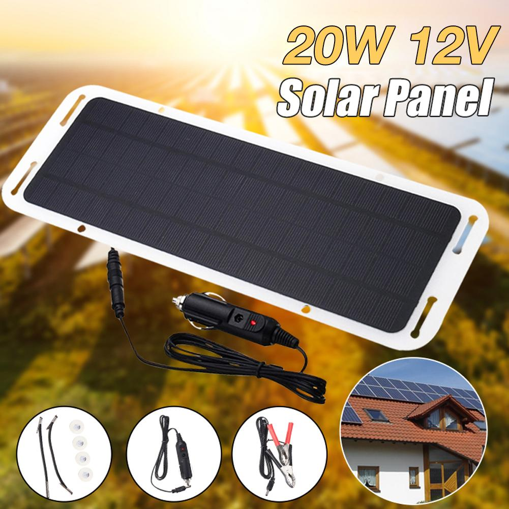 Electronics Equipment Solar Power Portable Battery Charger Solar Trickle Panel 20W12V Car Boat Laptop Computer Accessories