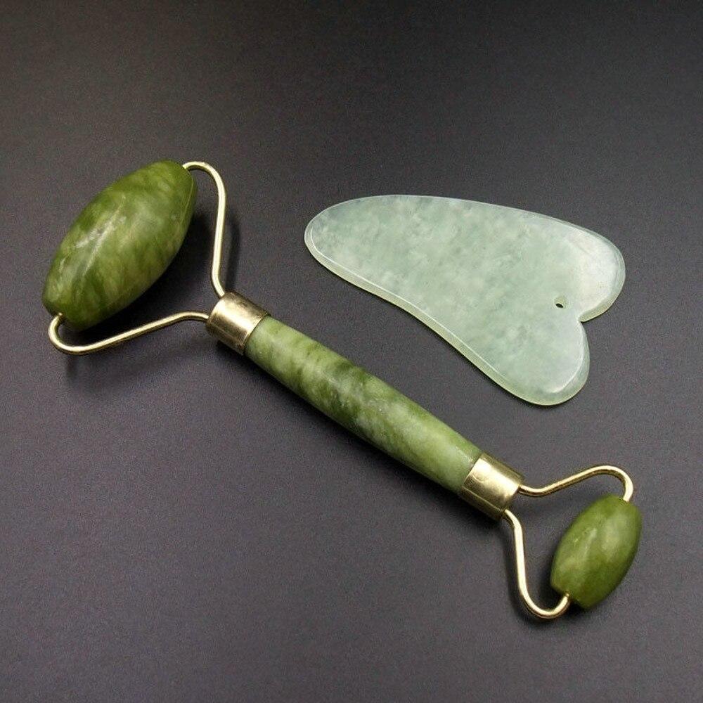 Gua Sha rodillo masajeador facial de doble cabeza china medicina Natural Placa de jade herramienta de raspado relajación belleza cuidado de la salud #1210