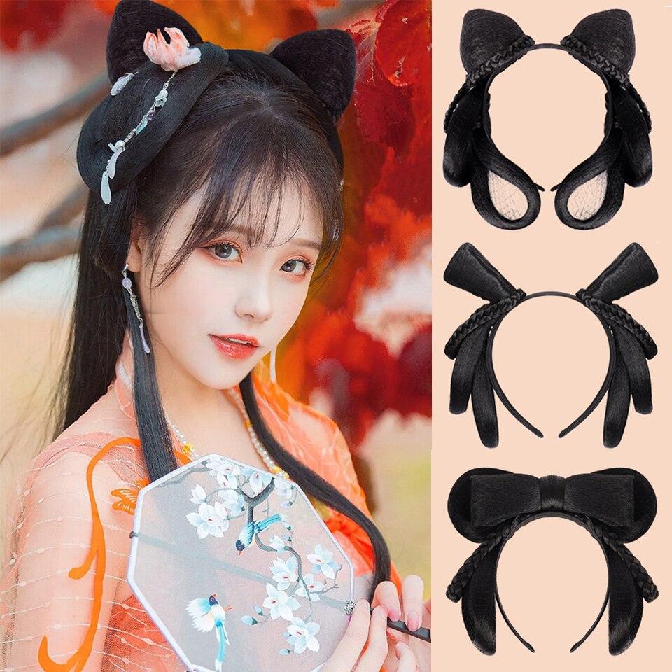 buqi tradicional chines retro cabelo chignon peruca sintetica hanfu cosplay cabelo