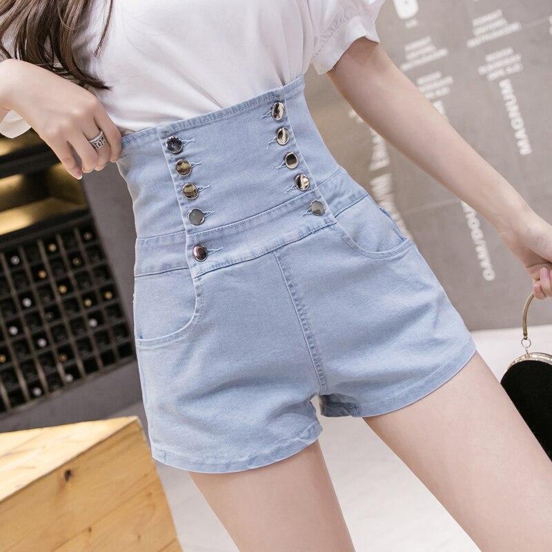 Verano mujeres Denim Shorts 2020 Nuevo Negro Azul alta cintura pantalones cortos Femme botones de encaje vendaje Hotpants mori girl