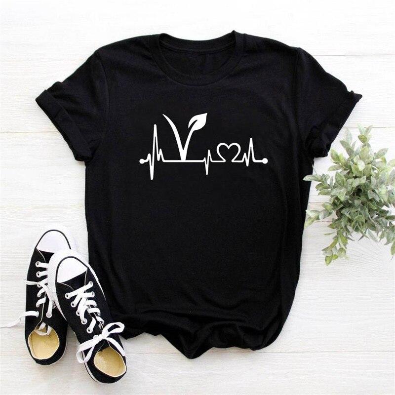 Футболка женская веганская наклейка линия сердцебиения принт Повседневная забавная футболка для Леди Девушка Топ Футболка женская Вегетарианская футболка