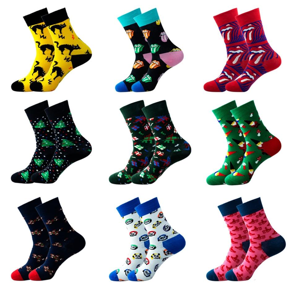 Модные мужские хлопковые носки с принтом, модные мужские носки в стиле хип-хоп, Спортивные Повседневные забавные цветные носки