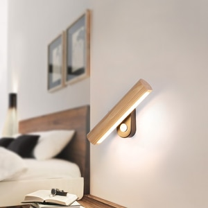 Modern Led Indoor Wall Sconce Light Fixture for Bedroom Bedside Wood Home Decoration Lighting Luminaire Rotate Reading Lamp Room