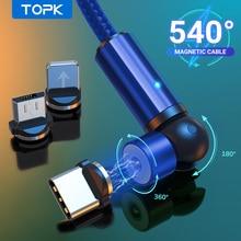 Topk cabo carregador magnético usb tipo c, 540 giro, para iphone 7 8 11 6 plus xr xs xiaomi samsung